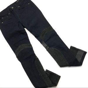 Rag & Bone Skinny Jeans w/ Leather & Lace Contrast